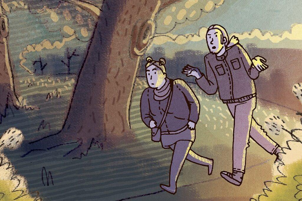 Samppa ja Silja metsäkävelyllä